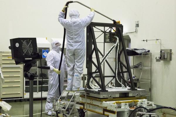 SAGE 111 Nadir Viewing Platform Payload being cleaned at NASA Langley before shipping to KSC.