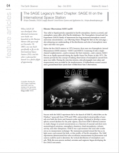The SAGE Legacy's Next Chapter: SAGE III on the International Space Station