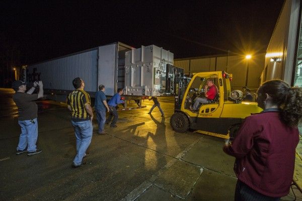 Thursday, November 19 2015 the SAGE 111 instrument is packed and loaded on a FEDX truck bound for Kennedy Space Center.